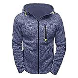 Riou Herren Slim Sportjacke Sweatjacke Männer Hoodied Pullover Sweatshirt Reißverschluss Fleece Kapuzenjacke Mantel Jacke (L, Blau)