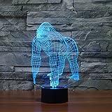 3D Gorilla Lampe USB Power 7 Farben Amazing