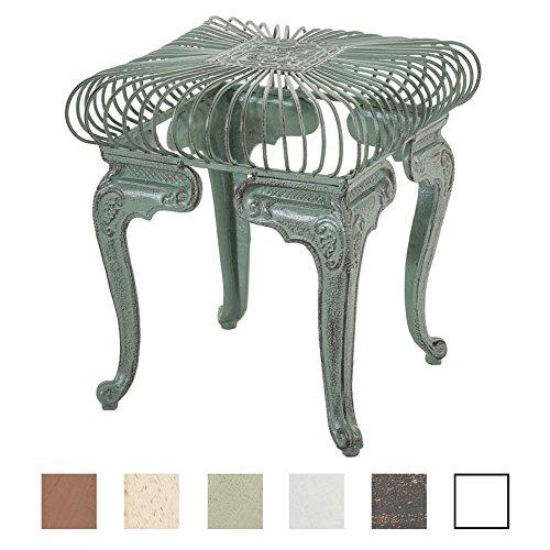 CLP Table de Jardin Carrée MELLE Ø 70 cm en Fer Forgé de Style Antique Nostalgique - Table d'Extérieur Taille 35 x 35 cm Idéale pour le Balcon ou la Terrasse - Table de Jardin de Différentes Couleurs vert antique
