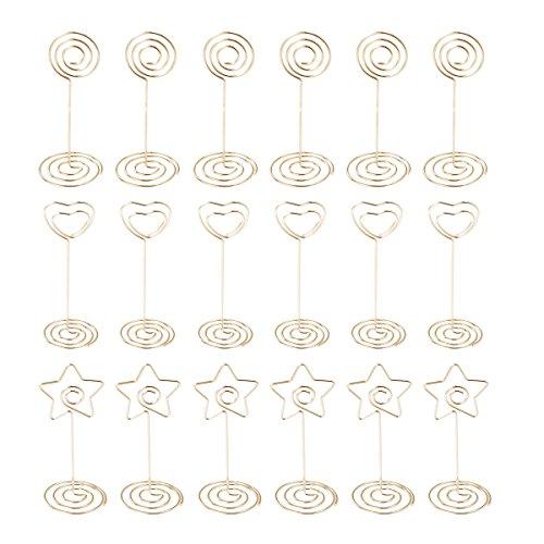 TOYANDONA 30 stücke Tischkartenhalter tabellennummer stehen tischkarte bild halter menü memo clips für hochzeiten party geburtstag (Goldene)