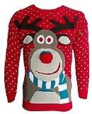Herren Damen Strickpullover 3D Rudolph Rentier Elfe Weihnachten Pullover - Rote Bommel Nase, XL