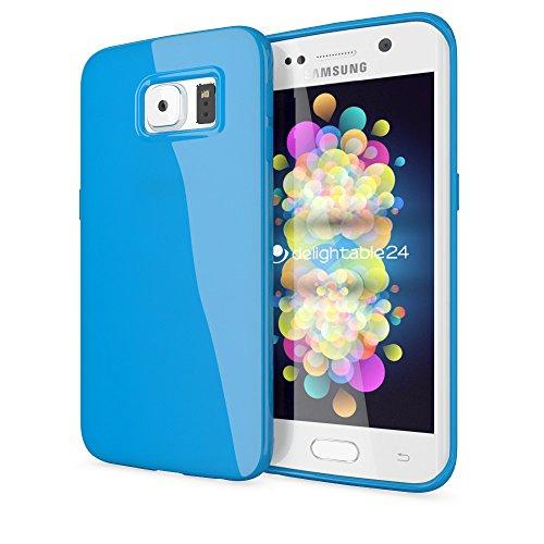 NALIA Custodia compatibile con Samsung Galaxy S6 Edge, Cover Protezione Ultra-Slim Case Protettiva Morbido Cellulare in Silicone Gel, Gomma Jelly Telefono Bumper Sottile - Blu