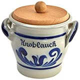 Original westerwälder Kannenbäckerland salzglasierte Steinzeug Keramik Knoblauchtopf mit Holzdeckel (onesize, Geblaut)