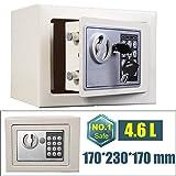 Electronic Digital Offenes Feuer Safe Box mit 2Schlüssel Stahl Sicherheit Geld Cash Schmuck wichtiges Dokument Safety Box Home Office 17x 23x 17cm (Weiß)