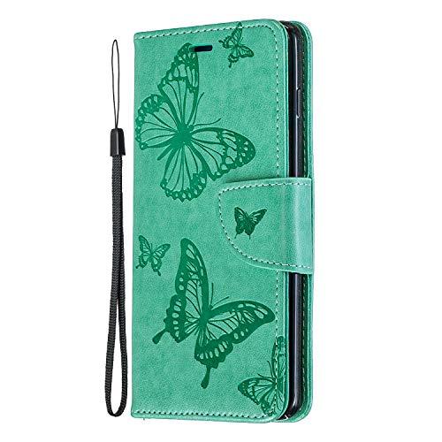 Sony Xperia 10 Hülle Brieftasche für Sony Xperia 10 Handyhülle PU Leder Hülle Tasche Schmetterling Muster Kartenschlitz Magnetverschluss Ständer Kratzfest Stoßfest Stoßfänger Handytasche Grün