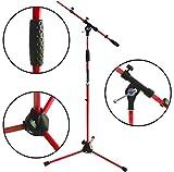 Keep Drum ms106RD Rosso Cavalletto Treppiede Microfono con Asta e metallo di base