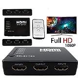 2-Port (5 x 1) HDMI Switch Hub Switcher + AC Power Adapter mit IR-Fernbedienung Unterstützt 3D High Definition Full HD1080P für HDTV PC, Unterstützung für HDMI, 3D TV, HDCP Repeater