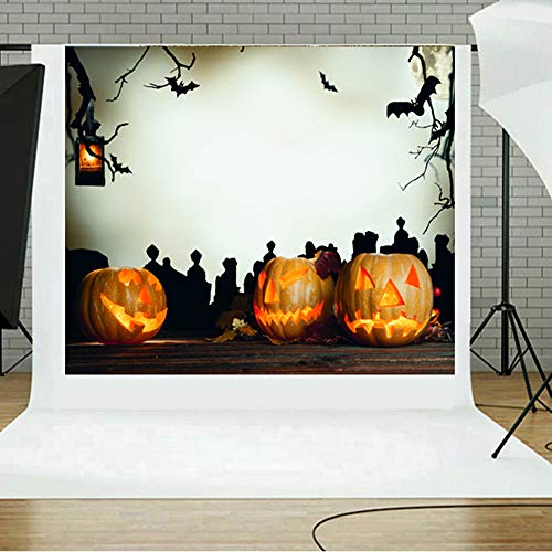 TAOtTAO Halloween Backdrops Kürbis Vinyl 5 x 3FT Laterne Hintergrund Fotografie Studio ()