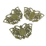 Charm in bronzo anticato per gioielli R7IR4A, a forma di farfalla, cabochon con cornice vuota antique bronze