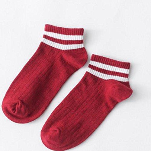 Lizes Frauen-weiche Baumwollbreathable Socken-gestreifte Socken-unsichtbare zufällige rutschfeste niedrige Schnitt-Socken (Weinrot, 2 Paare) (Farbe : As shown, Größe : Average code) (Gestreifte Low-cut-socken)