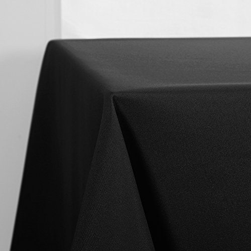 Schwarze Outdoor-esstisch (Deconovo Tischdecke Wasserabweisend Tischwäsche Lotuseffekt Tischtücher 130x220 cm Schwarz)