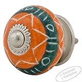 Möbelknopf Möbelknauf Möbelgriff JKE0184 7005-E orange grün R4-215 Keramik Porzellan handbemalte Vintage Möbelknöpfe für Schrank, Schublade, Kommode, Tür von Jay Knopf