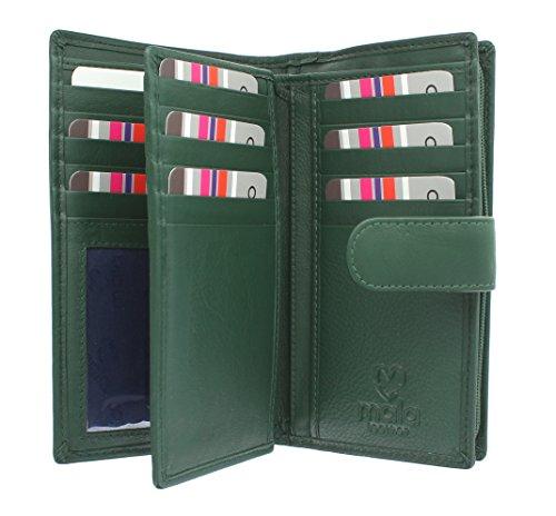 Mala Leather Collezione ORIGIN Portafoglio in Pelle con protezione RFID 3178__5 Blu marino Verde