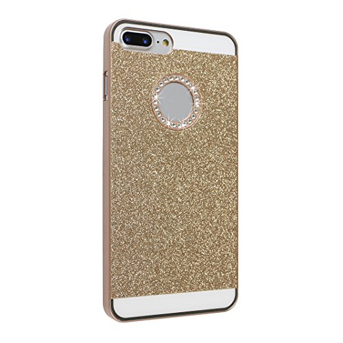 2 PCS iPhone 8 Plus/ iPhone 8 Plus Hülle Glitzer, iPhone 7 Plus Hard Glitzer Case, iPhone 8 Plus Hard Glitzer Case, Moon mood® Ultra Slim Thin 3D Bling Strass Hülle Hart Bling Gliter Handytasche Krist 3 PCS 1