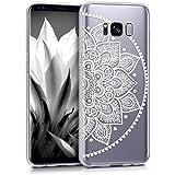 kwmobile Hülle für Samsung Galaxy S8 - TPU Silikon Backcover Case Handy Schutzhülle - Cover klar Indische Halbblume Design Weiß Transparent