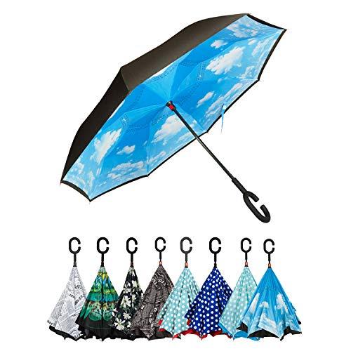 Golden Lemur Paraguas Invertido. Paraguas Originales Mujer y Hombre de Colores. Grande, para Coche Antiviento. Doble Capa, Reversible, Abre al Revés, Asa Manos Libres Funda Garantia Calidad, Cielo