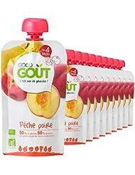 Good Goût - BIO - Gourde de Purée de Fruits Pêche Poire dès 4 Mois 120 g - Pack de 10