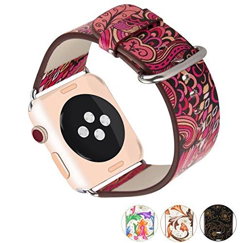 X-cool For Apple Watch ArmBand 38mm mit Metall Schließe Weiches Leder Saison Armband für Apple Watch Series 3/2/1(Sommer-38)