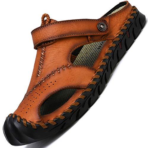 tqgold® Sandalen Herren Leder Clogs Sommer Outdoor Sport Geschlossen Hausschuhe Freizeit Pantoletten(Braun,Größe44)