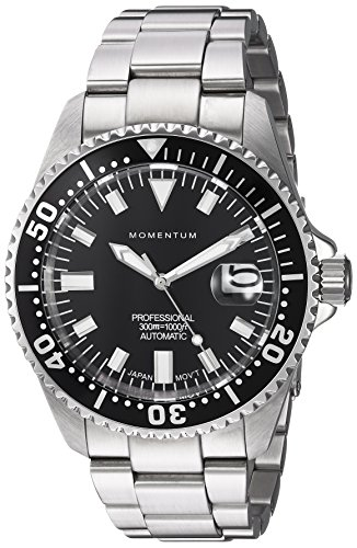 Momentum Men's Japanese Automatic Stainless Steel Diving Watch, Color:Silver-Toned (Model: 1M-DV56B0)
