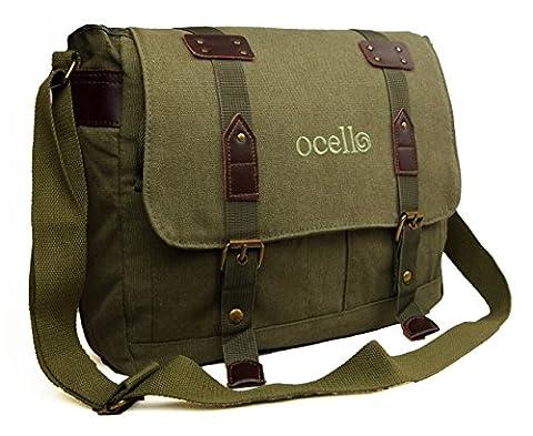 High Quality Ocello Canvas School Work College Satchel Fits A4 Dispatch Messenger Bag (Green)
