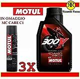 Olio motore moto 4 tempi 300 V road racing 10w40 litri 3 + OMAGGIO MC Care motul C1 Chain Clean
