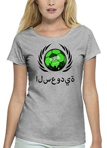 ShirtStreet Wappen Fussball WM Premium Fanfest Damen T-Shirt Bio Baumwolle Stanley Stella Fußball Saudi-Arabien Heather Grey