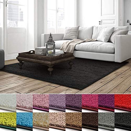 casa pura Shaggy Teppich Barcelona | weicher Hochflor Teppich für Wohnzimmer, Schlafzimmer, Kinderzimmer | GUT-Siegel + Blauer Engel | Verschiedene Farben & Größen | 100x150 cm | Schwarz