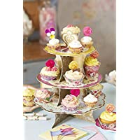 Talking Tables TS3-CAKESTAND Truly Scrumptious Tea Party Floral Cake Stand, Paper, Pink, Blue, Yellow