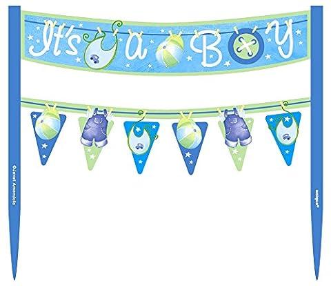 Blau Schirmhaspel Baby Dusche Tortenaufsatz Wimpelkette