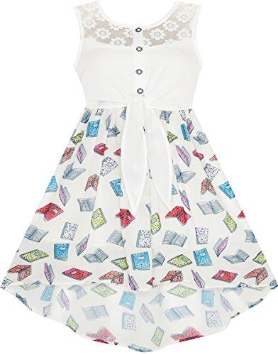 Sunny Fashion JK31 Vestido para Niña Encaje Libro Impreso Atado Cintura Colegio Uniforme Sol 7 Años