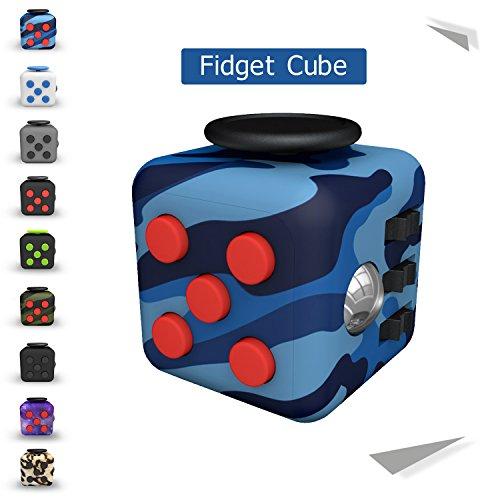 Preisvergleich Produktbild Tepoinn Stresswürfel Zappeln Cube Würfel vergleichbar wie Fidget Cube mit 6 unterschiedliche Funktionen entlastet Stress und Angst Spielzeug Geschenke für Kinder und Erwachsene mit  Blaue Tarnung