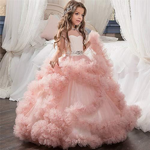 4464f7f85895 ChenYongPing Costume da Ballo per Bambini Elegante Vestito Bambina con Fiori  Che borda la Prima Comunione