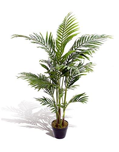 Estupenda planta artificial tropical, palmera, areca, de 120cm, para oficina, invernadero, jardín interior o exterior.