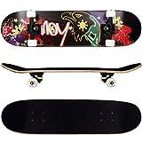 FunTomia Skateboard mit MACH1 ABEC-11 Kugellager Rollenhärte 92A und 9-lagigem Ahornholz (Es stehen verschiedene Farbdesigns zur auswahl) (Adler schwarz)