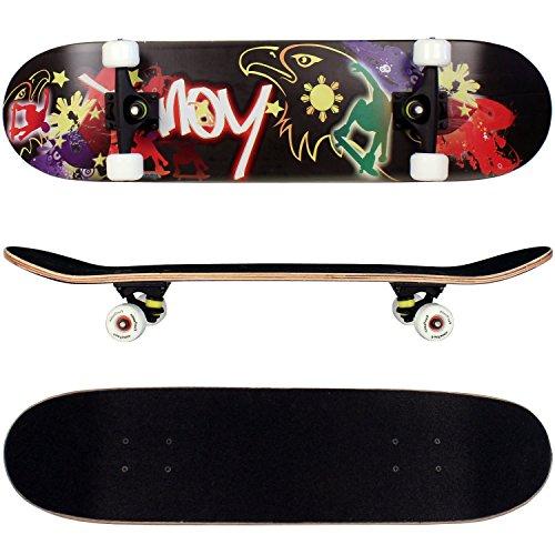 FunTomia Skateboard mit MACH1 ABEC-11 Kugellager Rollenhärte 92A und 9-lagigem Ahornholz
