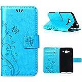 MOONCASE Galaxy J3 Bookstyle Étui Fleur Housse en Cuir Case à rabat pour Samsung Galaxy J3 Coque de protection Portefeuille TPU Case Bleu