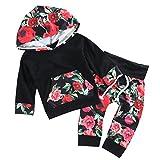 Funnycokid Baby Mädchen 2pcs Outfit Set Langarm Blumen gedruckt Hoodies Pullover Tops + Floral Hosen Set
