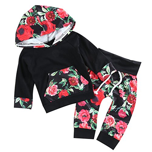 chicolife 2pcs Baby-Blumen-Druck-Pullover Hoodies mit Pocket Top + Flower Lange Hosen Set Schwarz Style