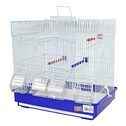 DZL- Jaula para pajaros Grandes criar con separación bebederos comedero y Perchas(42.5X29.5X40CM) (Azul Oscuro)