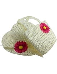 chapeau de paille avec des fleurs de sac de style princesse(blanc)