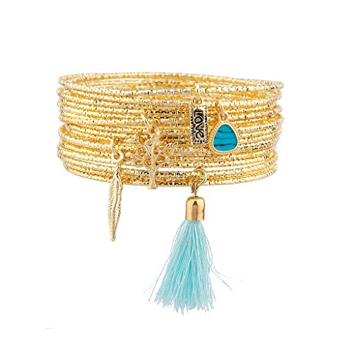 Lux accessori oro tono nappa Charm Bangle (Tono Oro Nappa)