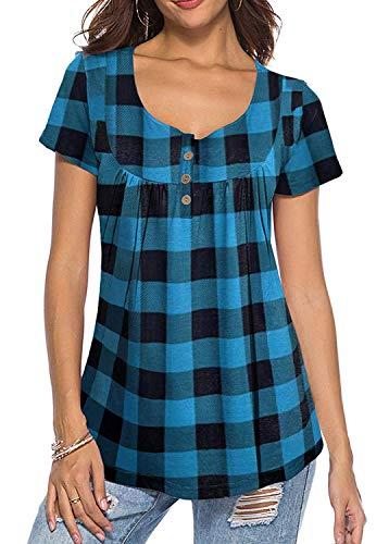 KISSMODA Damen Plus Size Karo Lose T-Shirts Tops Plaid Bluse Blau 2X (Blusen Plus Größe Und Tops)