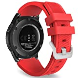MoKo Gear S3 Frontier Smartwatch Bracelet en Silicone souple pour Samsung Galaxy Gear S3 Frontier   S3 Classic   Moto 360 2nd Gen 46mm Smart Watch, Pas compatible avec S2,S2 Classic,Fit2, Rouge