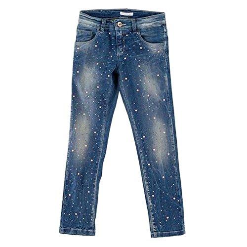 Pantalone lungo jeans con strass artigli ragazza 8/16 anni a08666