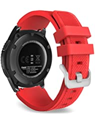 MoKo Samsung Gear S3 Frontier / Classic / Moto 360 2nd Gen 46mm Watch Armband - Silikon Sportarmband Uhr Band Strap Erstatzband Uhrenarmband für Samsung Gear S3 Classic Samrtwatch, Rot (Nicht für Gear S2 Classic)