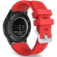 MoKo Gear S3 Frontier Smartwatch Bracelet en Silicone souple pour Samsung Galaxy Gear S3 Frontier / S3 Classic / Moto 360 2nd Gen 46mm Smart Watch, Pas compatible avec S2,S2 Classic,Fit2, Rouge