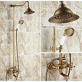 GOWE baño lujo latón antiguo grifo de la ducha bañera grifo mezclador monomando para ducha de doble mango