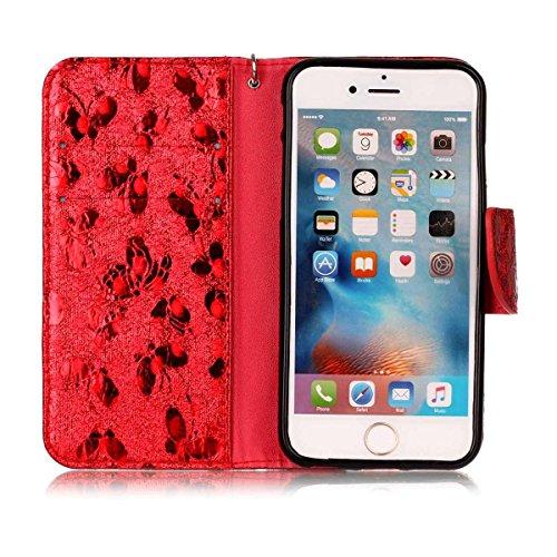 iPhone 6 Hülle, SHUNDA Brieftasche Schutzhülle Flip Leder Handyhülle mit Kippständer Bling Schmetterling Bookstyle Handycover für iPhone 6 / 6S - Blau Rot