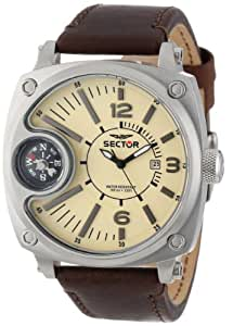 Sector Men's Quartz Watch with Beige Dial Analogue Display and Brown Leather Strap R3251207005